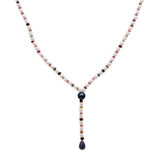 Orchid Jewelry 57.5 Carat Tourmaline Ruby Amethyst Pearl Grey pearl 14k Yellow Gold Y-Shape Necklace