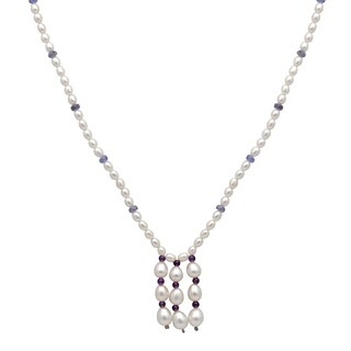 Orchid Jewelry 73.75 Carat Tanzanite Amethyst Pearl 14k Yellow Gold Y-Shape Necklace
