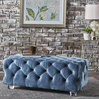 Laszlo  Tufted Velvet Rectangle Ottoman Bench by Christopher Knight Home