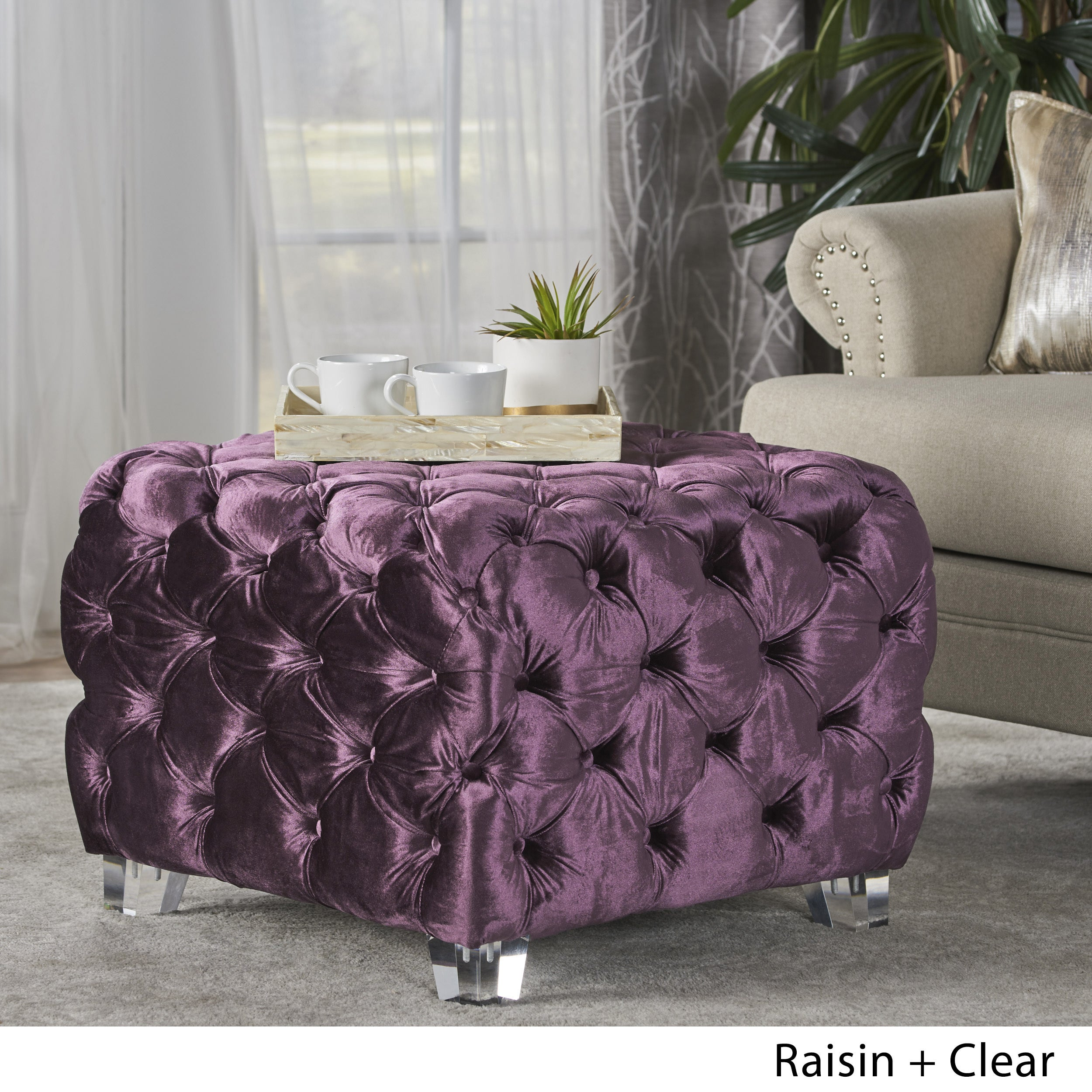 Laszlo Tufted Velvet Square Ottoman Stool By Christopher Knight Home On Sale Overstock 17801710