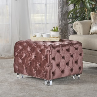 Laszlo Tufted Velvet Square Ottoman Stool by Christopher Knight Home