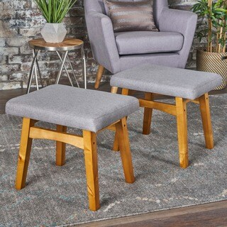 Azariah Mid Century Modern Fabric Ottoman Stool (Set of 2) by Christopher Knight Home