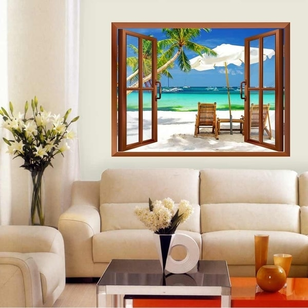 Tropical Beach Scenery Removable Wall Vinyl