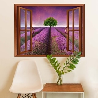 Tree on a Purple Filed Removable Wall Vinyl