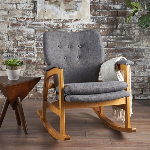 Bon Braant Mid Century Fabric Rocking Chair By Christopher Knight Home