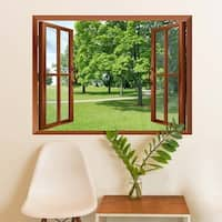 Park with Green Trees Removable Wall Sticker Inside Window Wall Vinyl