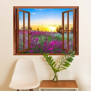Beautiful Summer Sunrise over a Blossoming Meadow Removable Wall Vinyl