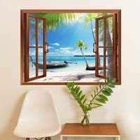 Boat on the Oceanside Removable Wall Sticker Wall Mural Wall Vinyl
