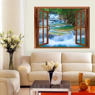 Cascading Waterfalls in Tropical Forest Removable Wall Sticker Inside Window Wall Vinyl