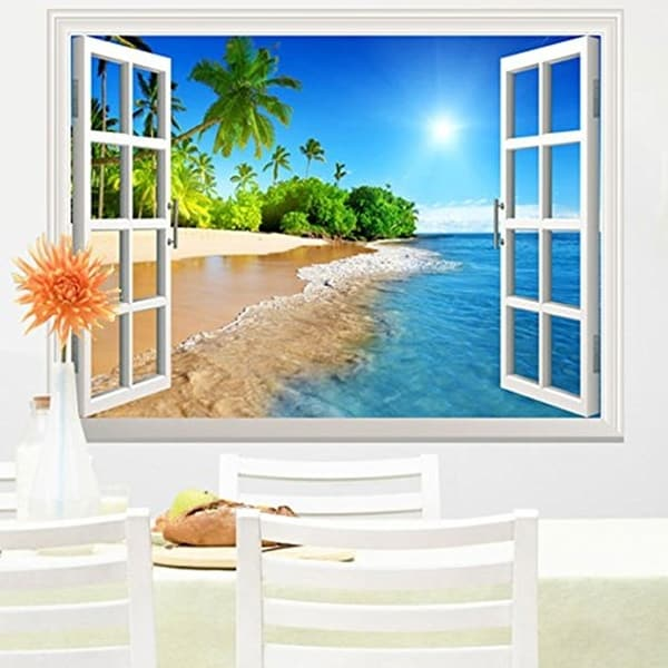 White Beach with Blue Sea and Palm Tree Open Window Wall Vinyl