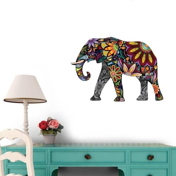 The Cheerful Elephant L And Stick Wall Decals 12 In W X 8 H Vinyl
