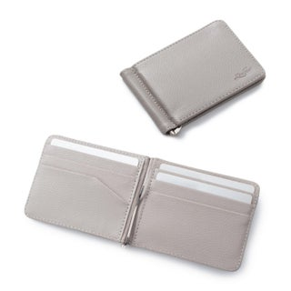 Zodaca Men's Slim Bifold Leather Wallet Purse Credit Card Holder Executive Business Card Case with Removable Money Clip (Option: Grey)