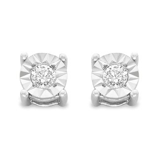 Sterling Silver .20ct. TDW Round-Cut Diamond Stud Earrings (J-K, I2-I3) - White