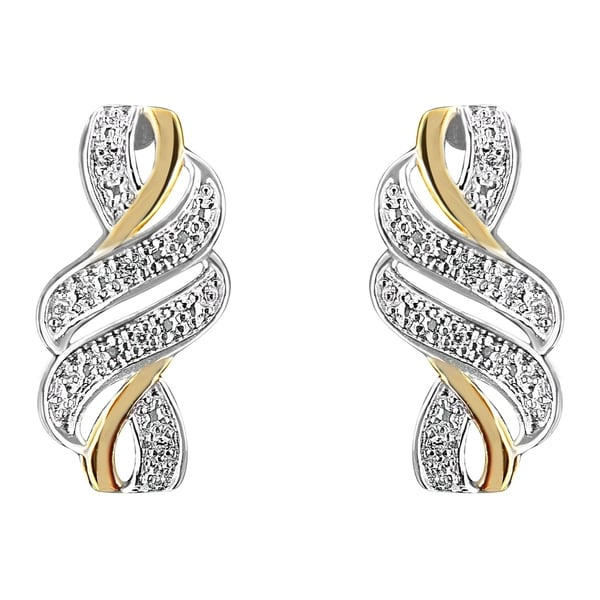 8af958562 Yellow Plated Sterling Silver 0.08ct TDW Round Cut Diamond Swirl Earrings  (H-I,I2