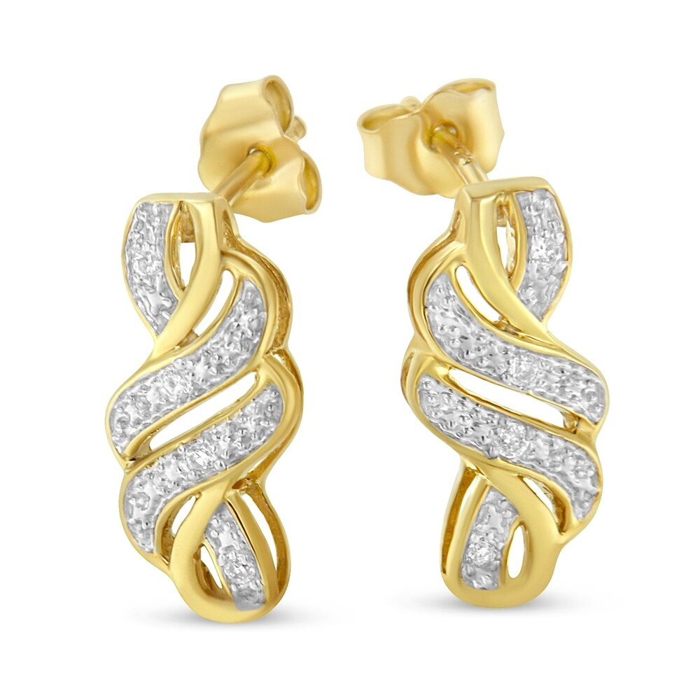 Shop Yellow Plated Sterling Silver 0.08ct TDW Round Cut Diamond Swirl Earrings (H-I,I2) - Overstock - 17802206