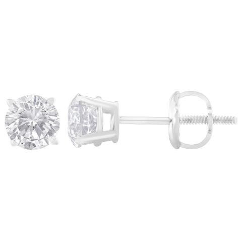 Sterling Silver 1.00ct TDW Round-Cut Diamond Solitaire Certified Stud Earrings (H-I, I2) - White
