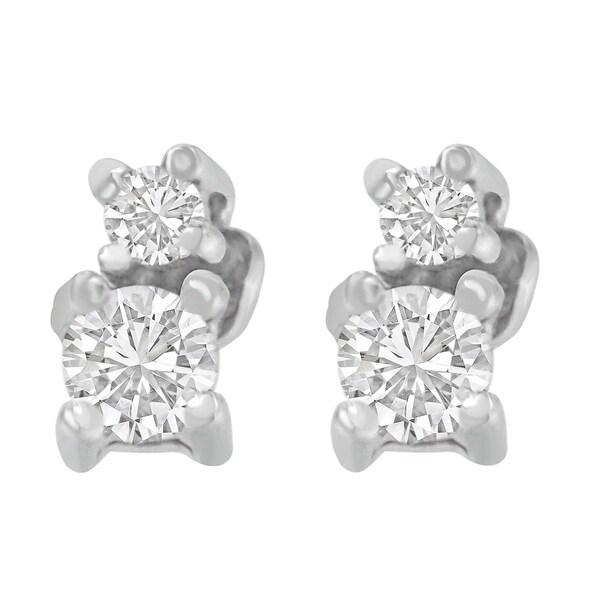 Tdw Double Diamond Stud Earrings H I Si2