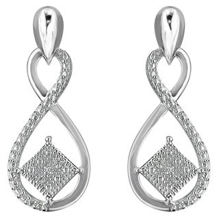 Sterling Silver 0.04ct TDW Round Cut Diamond Infinity Earrings (H-I,I2) - White