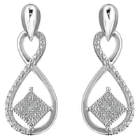 Sterling Silver 0.04ct TDW Round Cut Diamond Infinity Earrings (H-I,I2)