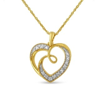 Yellow Plated Sterling Silver 0.1ct TDW Diamond Heart Pendant Necklace (H-I,I2) - White