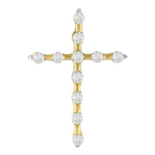 Yellow Plated Sterling Silver 0.06ct TDW Round Cut Diamond Cross Pendant (H-I,I2) - White