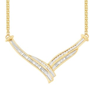 10K Yellow Gold 0.5 ct. TDW Round and Baguette Cut Diamond Pendant Necklace (J-K, I1-I2)
