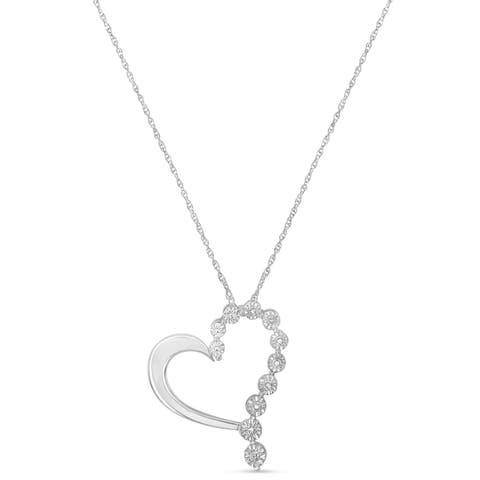 Sterling Silver 0.1ct TDW Round Diamond Heart Pendant Necklace (H-I,I2)
