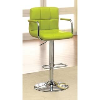 Corfu Contemporary Bar Stool With Arm In Yellow Pu|https://ak1.ostkcdn.com/images/products/17803076/P23997542.jpg?impolicy=medium