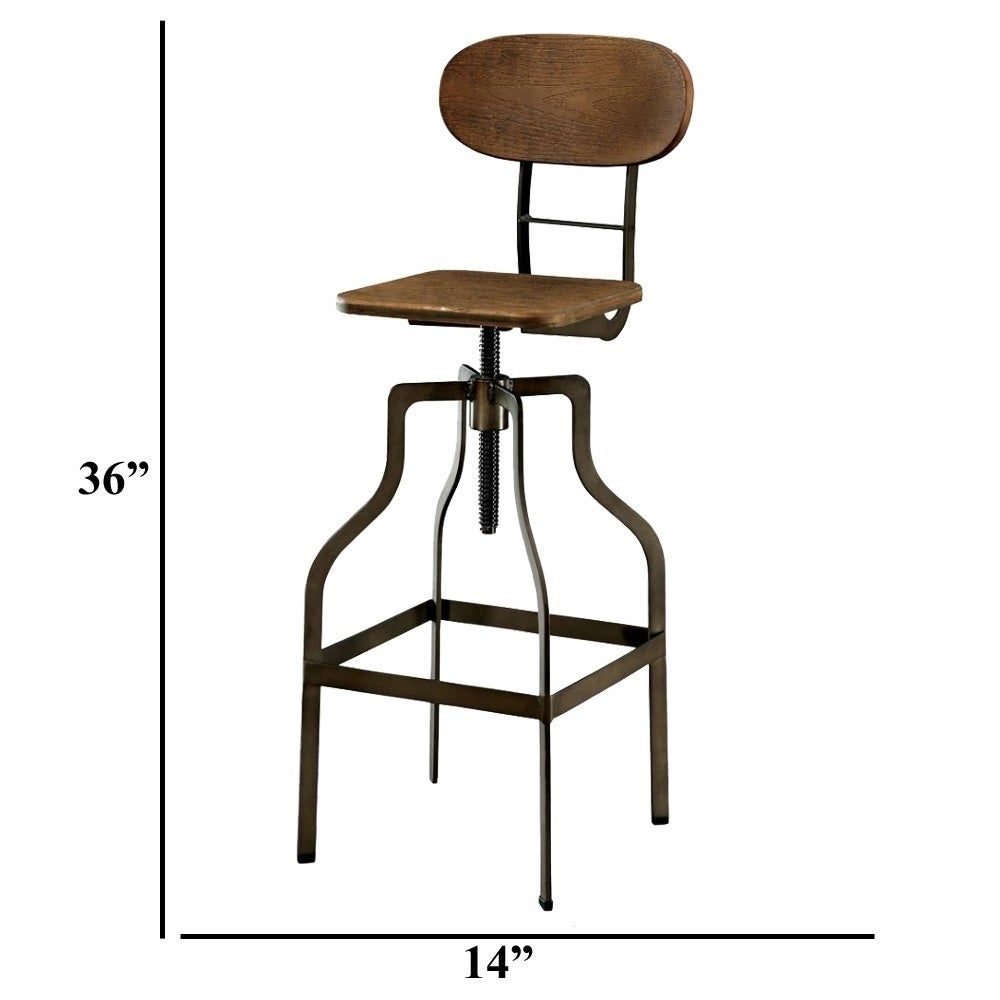 Excellent Industrial Style Wooden Swivel Bar Stool With Black Metal Base Brown Creativecarmelina Interior Chair Design Creativecarmelinacom