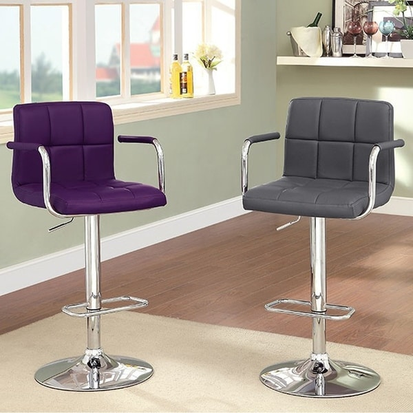 Corfu Contemporary Bar Stool With Arm In Green Pu