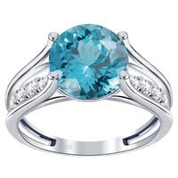 Orchid Jewelry 925 Sterling Silver Simulated Gemstone & White Topaz Engagement Ring