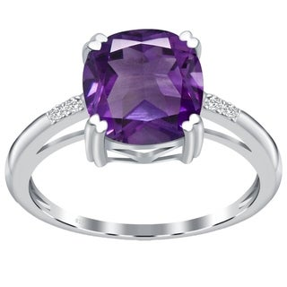 Orchid Jewelry Sterling Silver Cushion-cut Gemstone Solitaire Rhodium Finished Ring