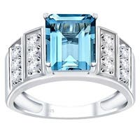 Orchid Jewelry 925 Sterling Silver Simulated Gemstone & White Topaz Anniversary Ring