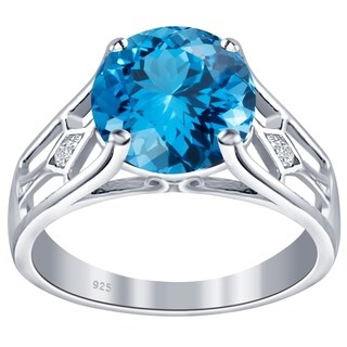 Orchid Jewelry Sterling Silver Birthstone and White Topaz Solitaire Ring