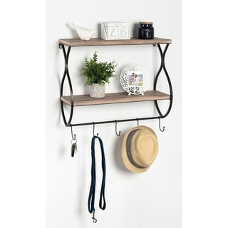 Kate and Laurel Spurling Wood and Metal Floating Wall Shelf with Hooks