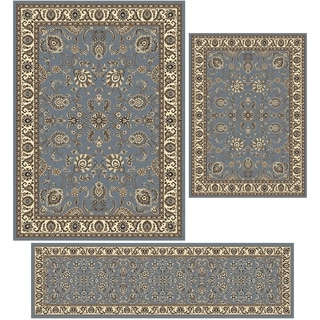 "Artisan Tabriz Greyblue Three Piece Rug Set - 3'3 x 4'11/5'5"" x 7'7""/2'2 X 7'7"