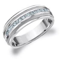 Amore 10K White Gold Men's 0.50 CT TDW Diamond Milgrain Band