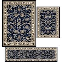"""Artisan Tabriz Denim Three Piece Rug Set (3'3 x 4'11/ 5'5"""" x 7'7""""/ 2'2 x 7'7)"""