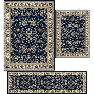 "Artisan Tabriz Denim Three Piece Rug Set (3'3 x 4'11/ 5'5"" x 7'7""/ 2'2 x 7'7)"