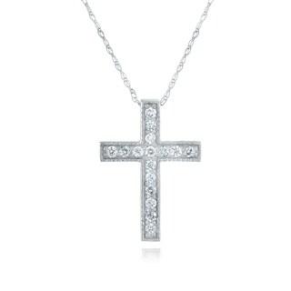 10k White Gold 1/6ct TDW Diamond Cross Necklace