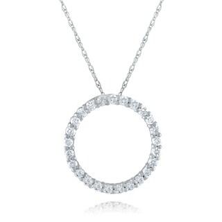 10k White Gold 1/5ct TDW Diamond Circle Necklace