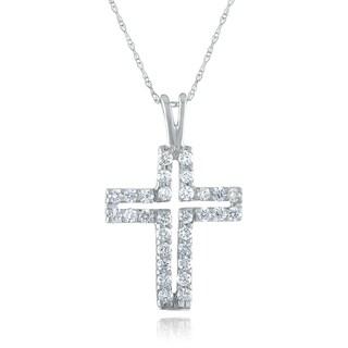 10k White Gold 1/2ct TDW Diamond Cross Necklace