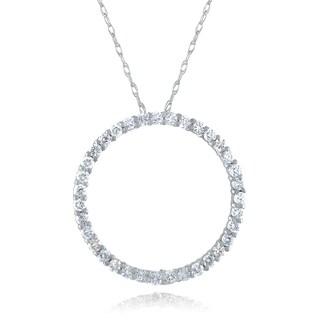 10k White Gold 1/3ct TDW Diamond Circle Necklace