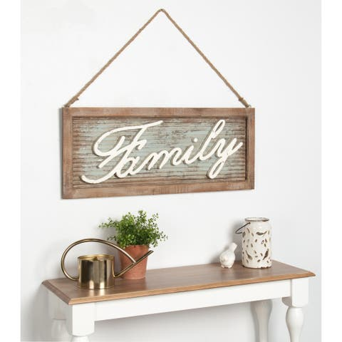 Kate and Laurel Flanders Family Hanging Wood and Metal Wall Art Plaque