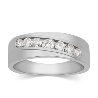 10k White Gold Men's 3/4ct TDW Channel-set Diamond Ring