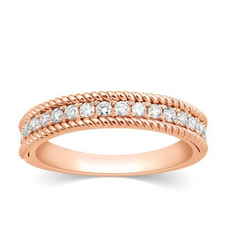 10k Rose Gold 1/3ct TDW Textured Stackable Diamond Band