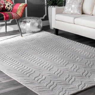 nuLOOM Handmade Carved Chevron Wool Grey Rug (9'6 x 13'6)