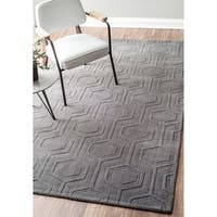 "nuLOOM Handmade Carved Hexagon Wool Grey Rug (9'6 x 13'6) - 9'6"" x 13'6"""