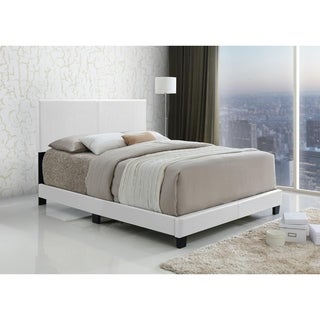 LYKE Home Jessie White Faux Leather Bed