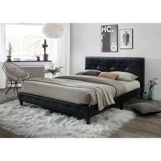 LYKE Home Jackson Tufted Black Platform Bed